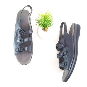 SAS Trio Black Leather Sandals Tripad Comfort Shoe